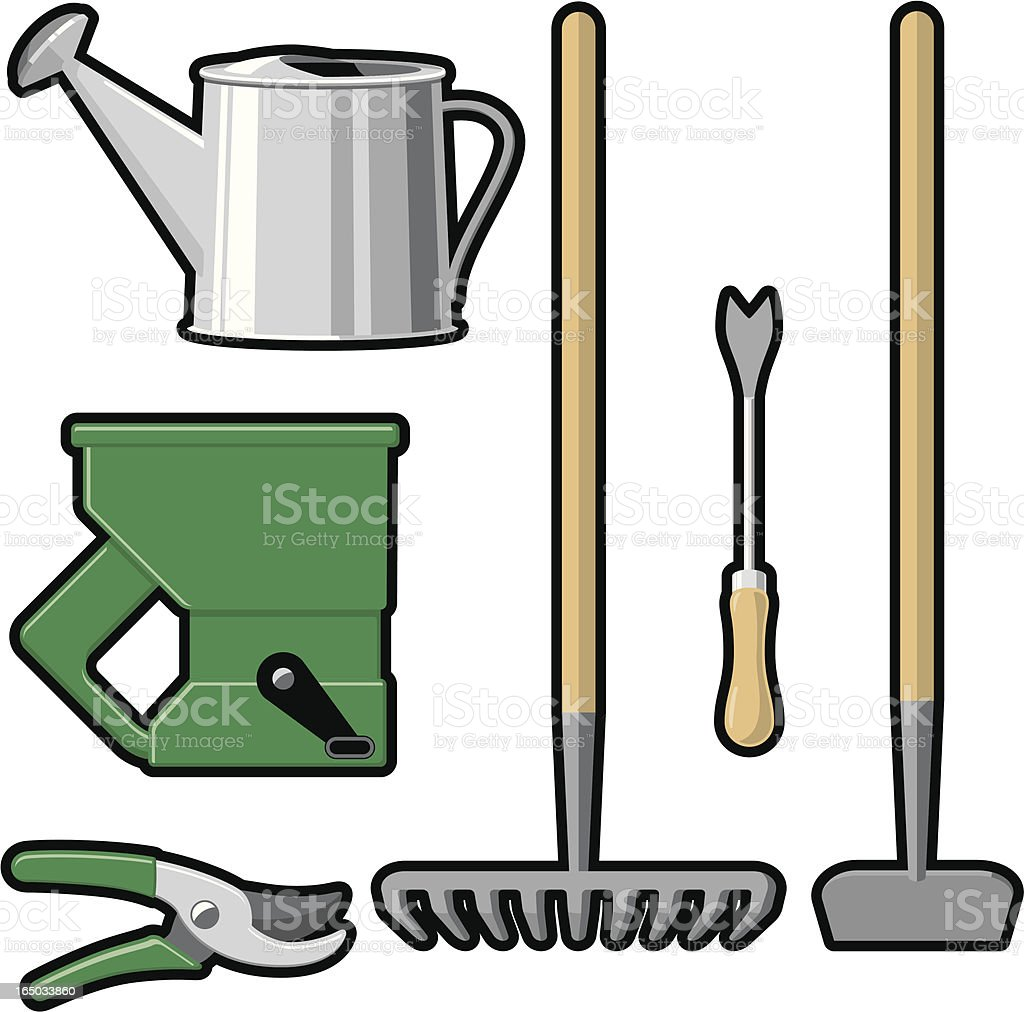 Outdoor Garden Tools - Set 2 (vector & raster) royalty-free stock vector art