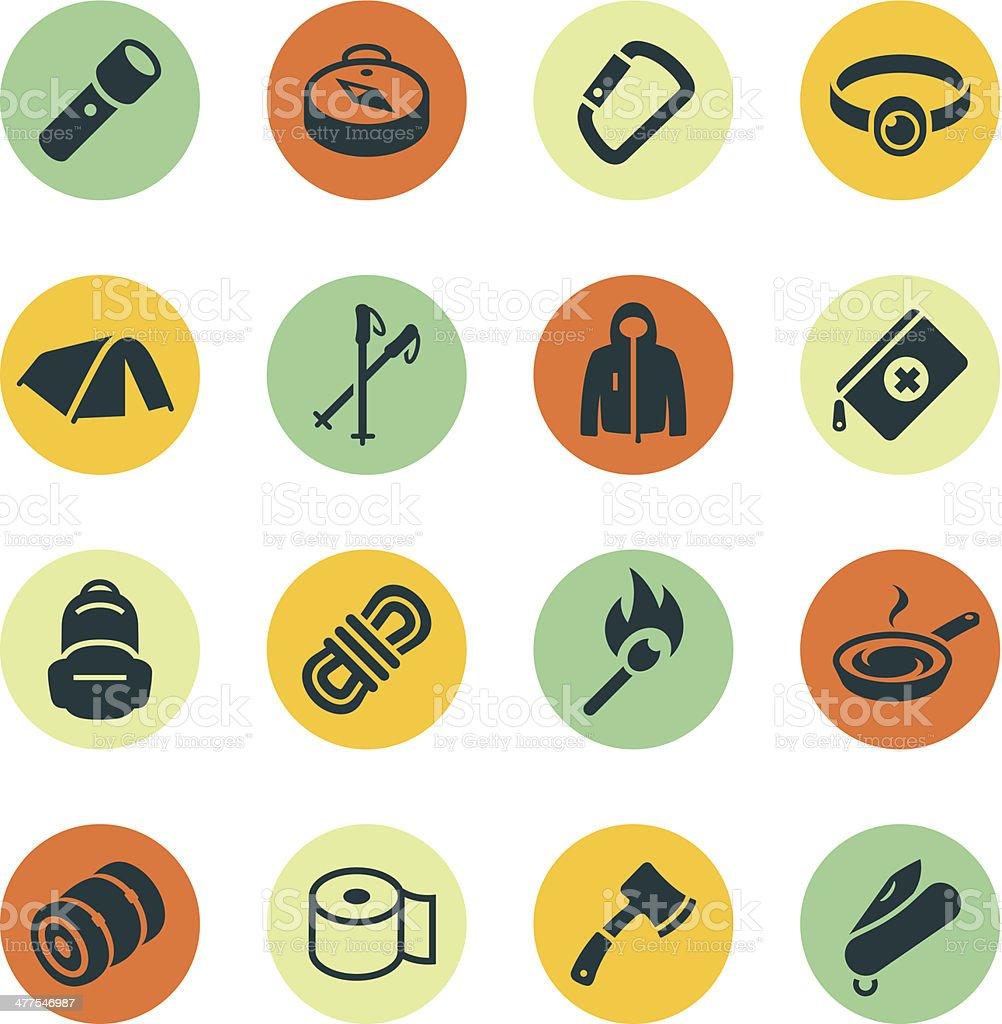 Outdoor Gear Icons vector art illustration