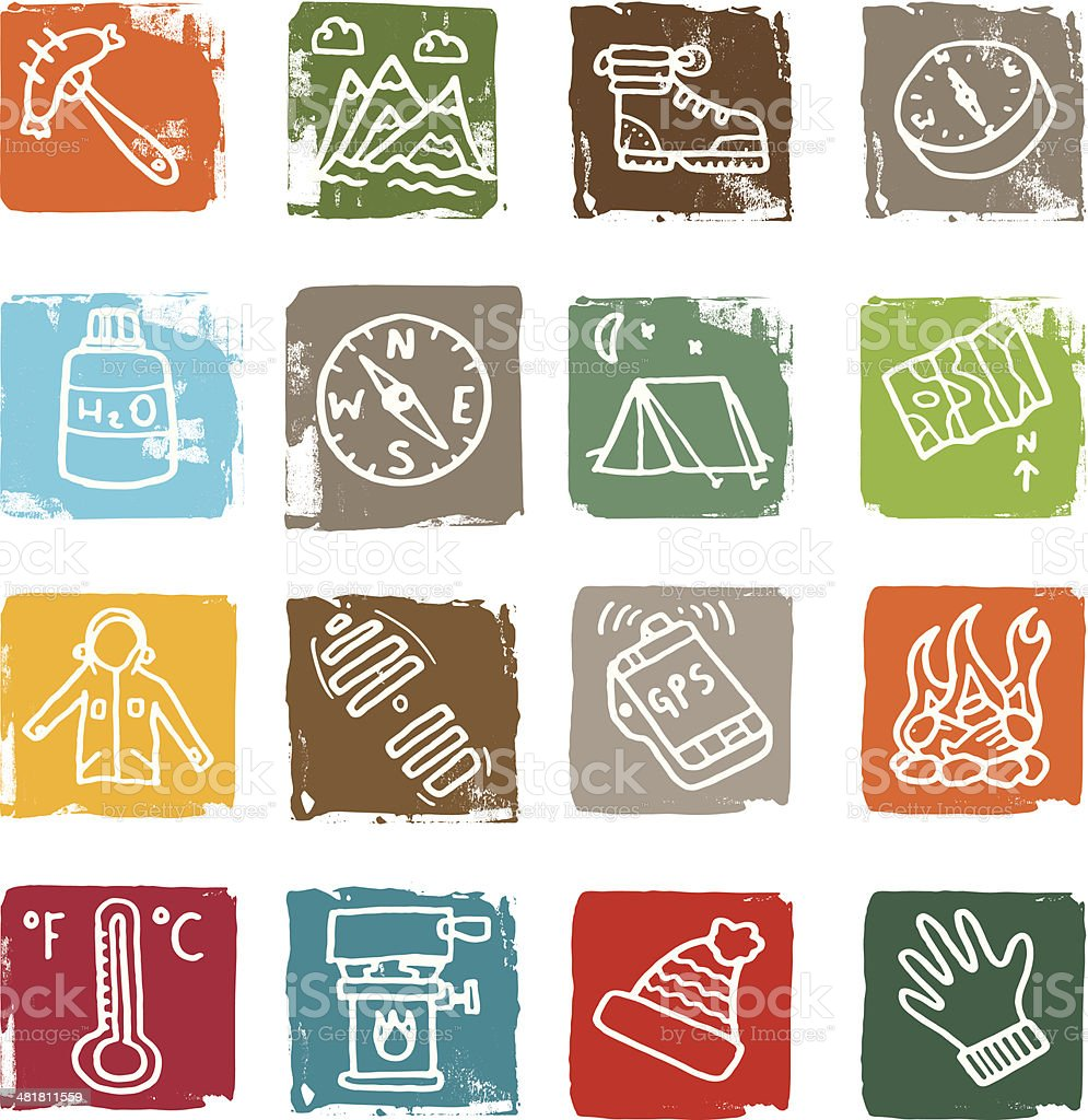 Outdoor grunge block icons royalty-free stock vector art