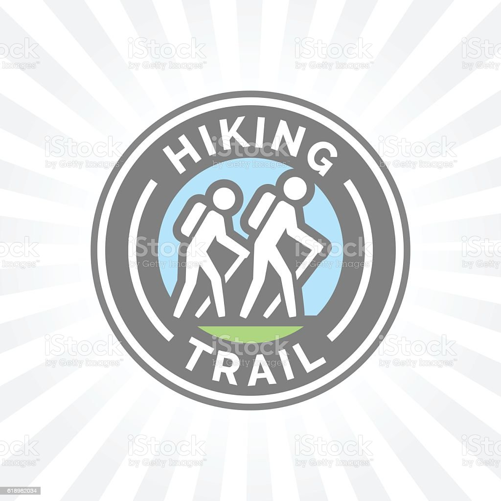 Outdoor hiking trail symbol with hikers icon vector art illustration