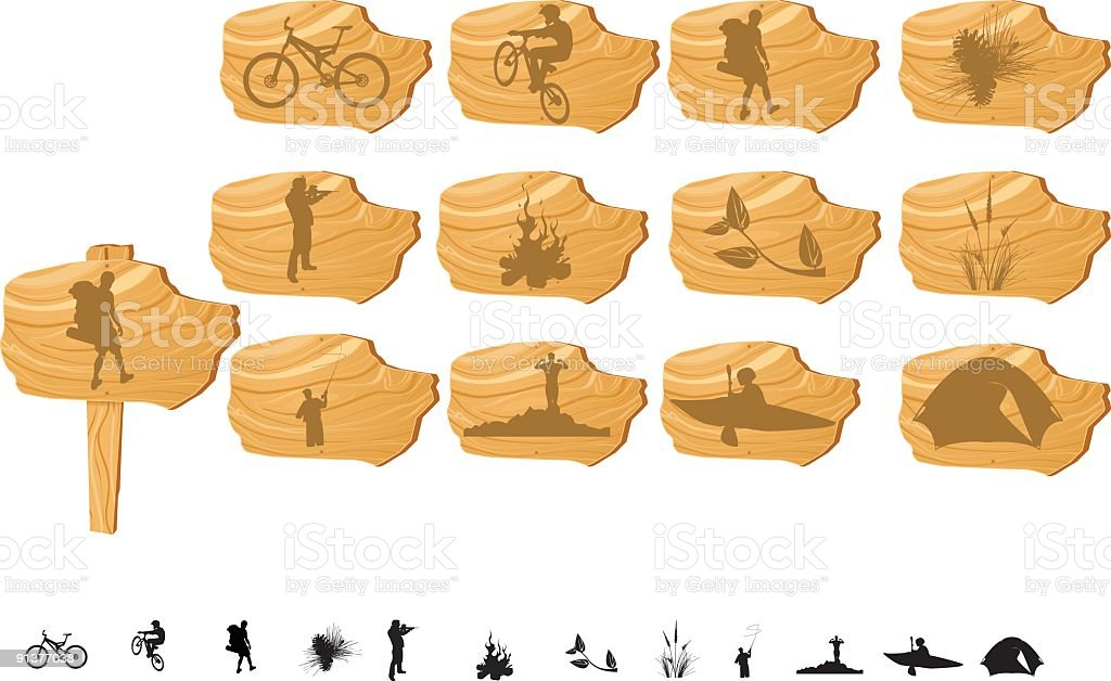 Outdoor Icon Set Wood Sign vector art illustration