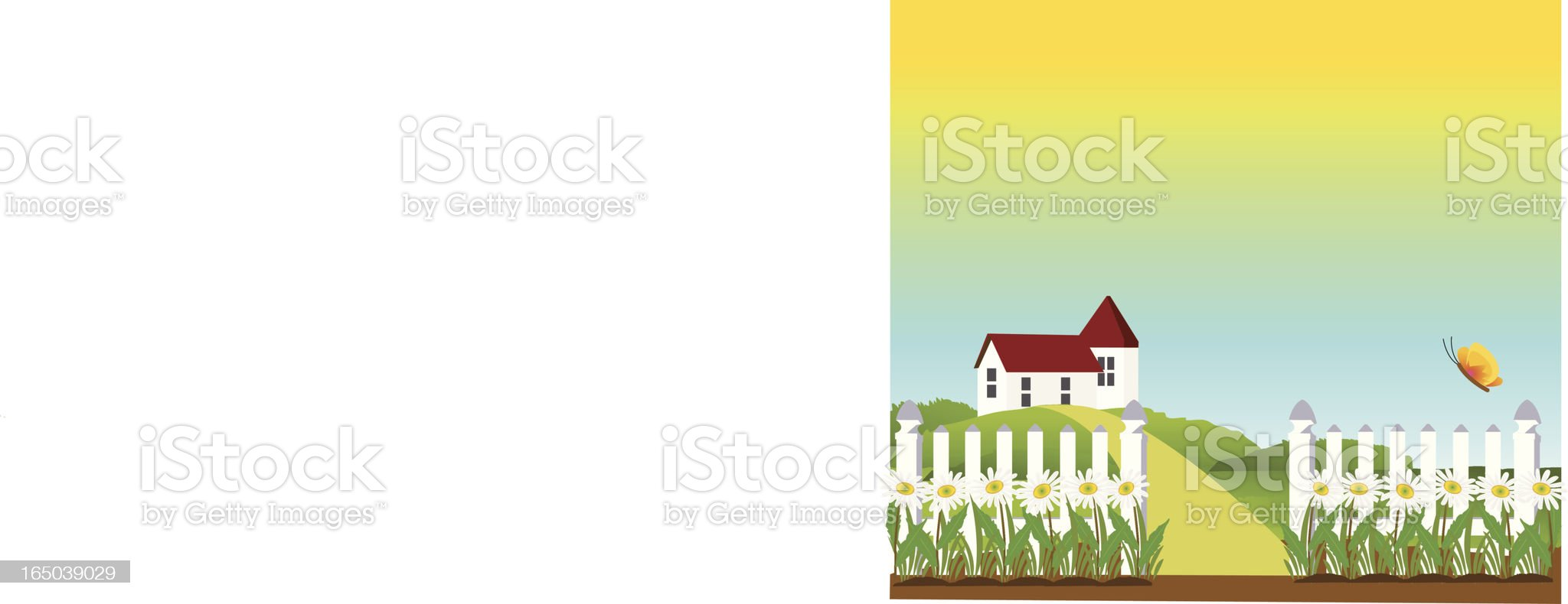 outdoor - picket fence in the village royalty-free stock vector art