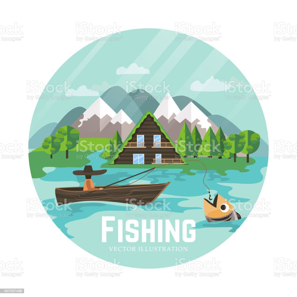 Outdoor recreation and fisherman vector art illustration
