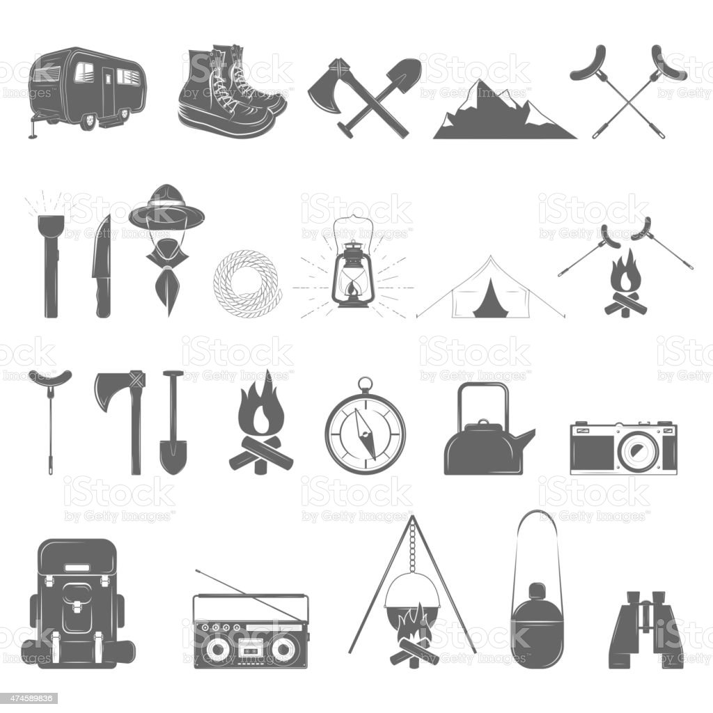 Outdoor Recreation Vector Icon Set. vector art illustration