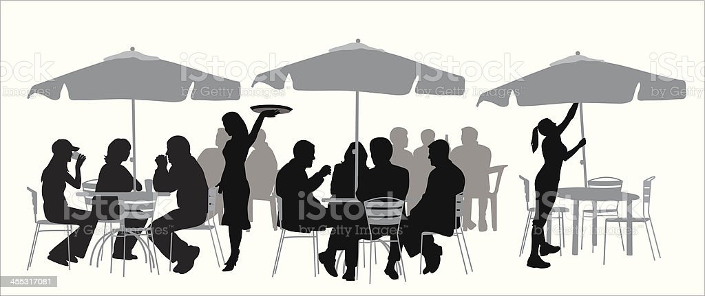 Outdoor Restaurant Vector Silhouette vector art illustration
