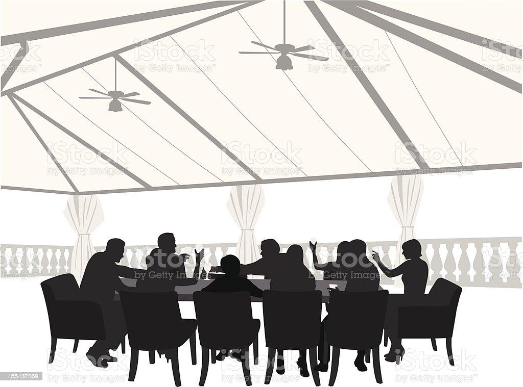 Outdoor Restaurant Vector Silhouette royalty-free stock vector art