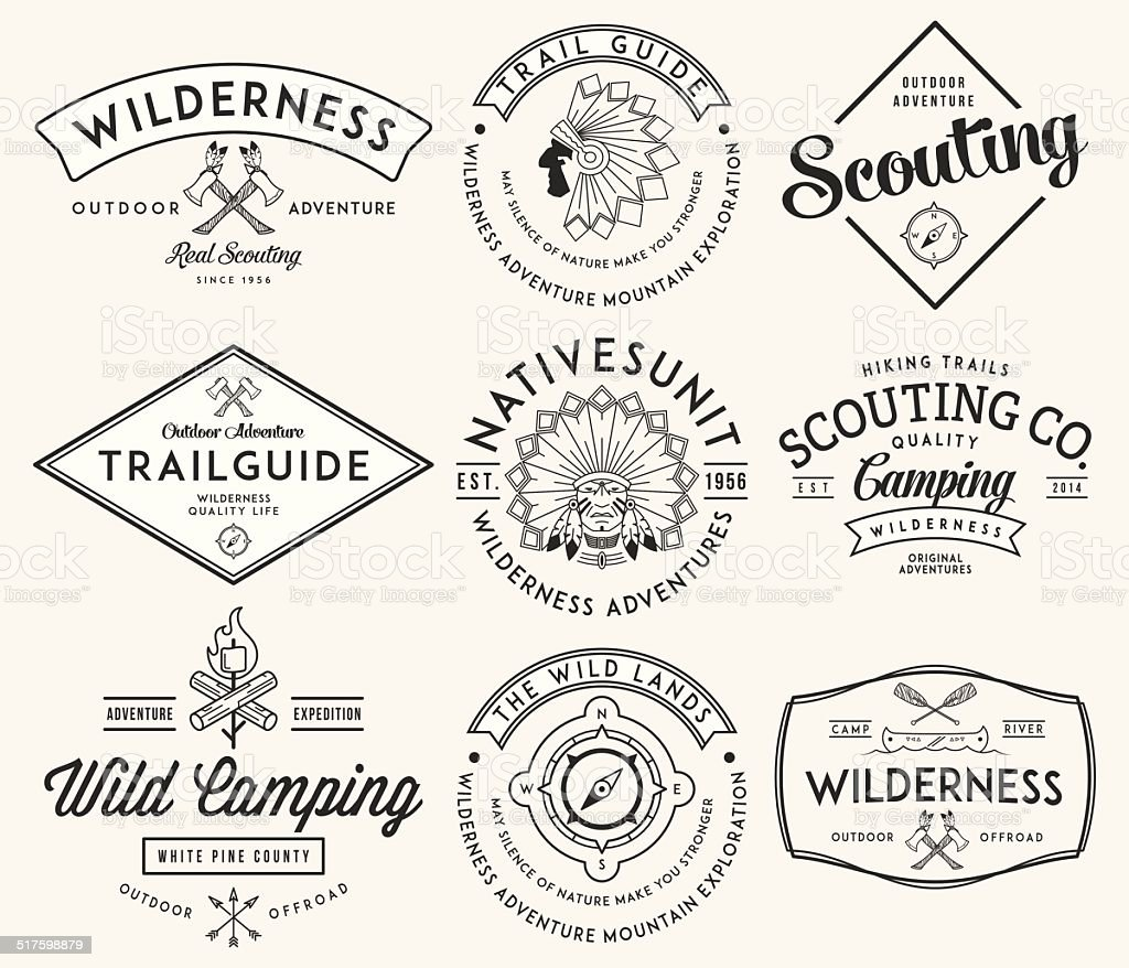 Outdoor scouting black on white vector art illustration