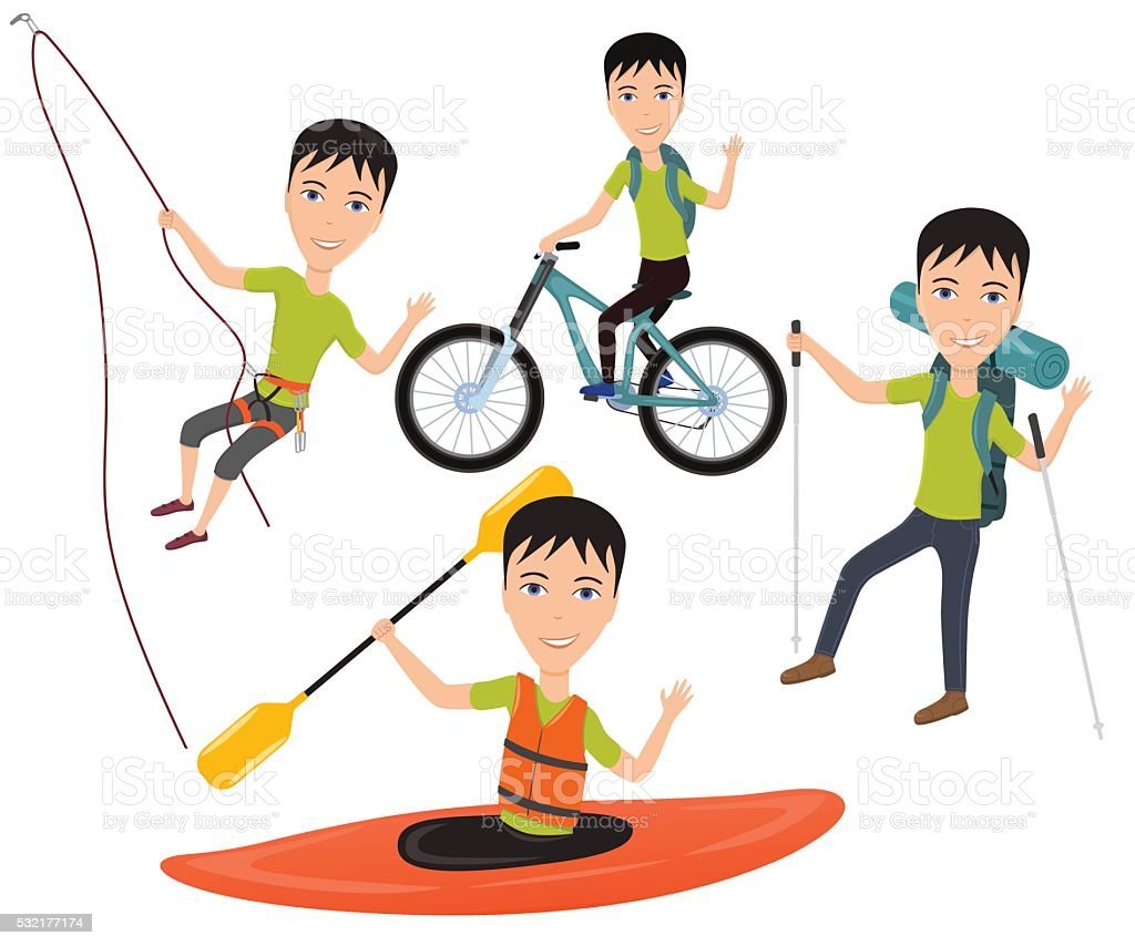 Outdoor sport and active lifestyles vector art illustration