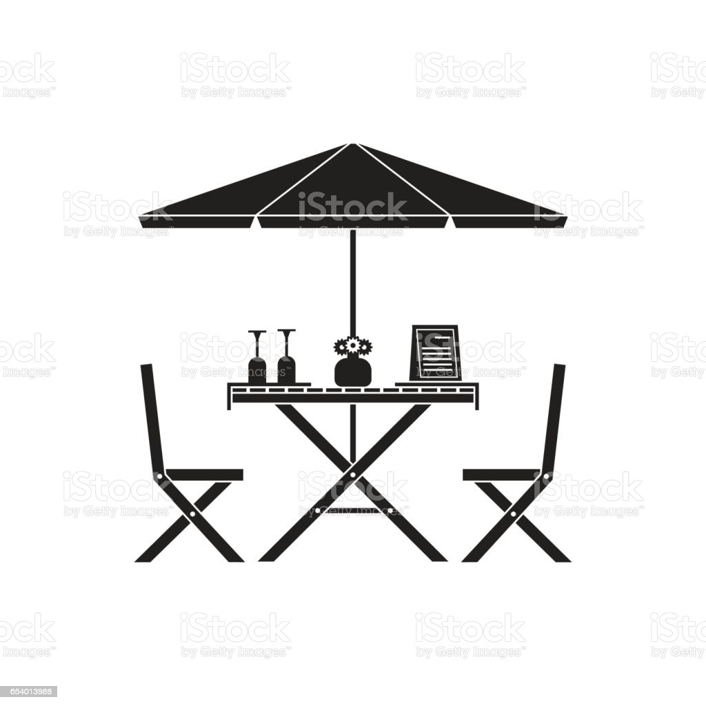 Outdoor Table and Chairs in Outline Design vector art illustration
