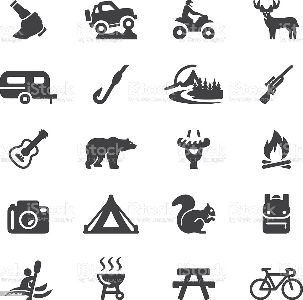 Outdoors and Adventure Silhouette 20 Icons| EPS10 vector art illustration