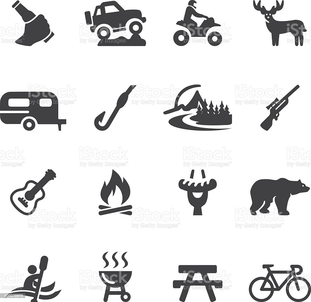 Outdoors and Adventure Silhouette icons| EPS10 vector art illustration