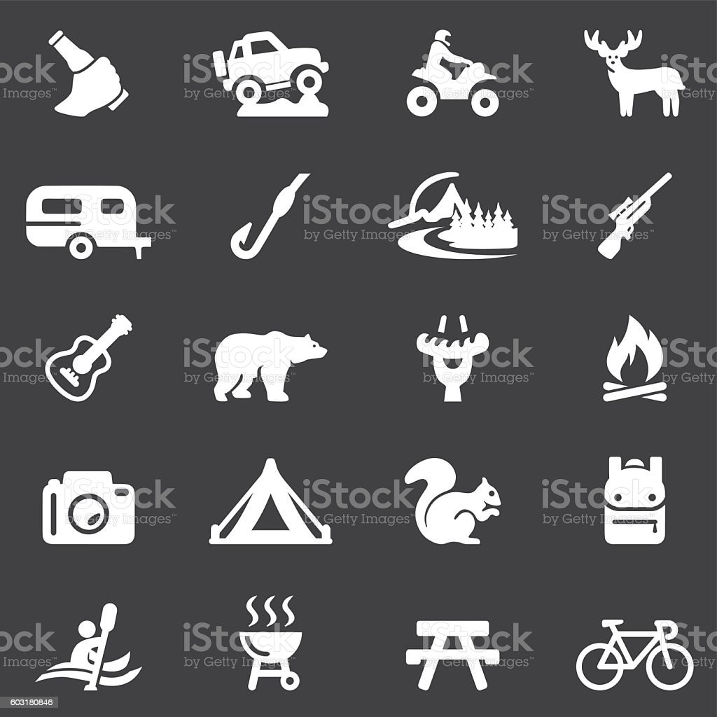 Outdoors and Adventure White Silhouette 20 Icons| EPS10 vector art illustration