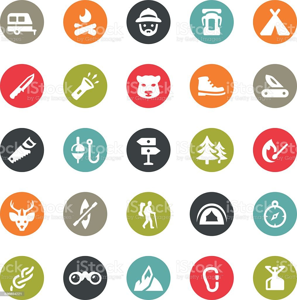 Outdoors and Camping icons / Ringico series vector art illustration