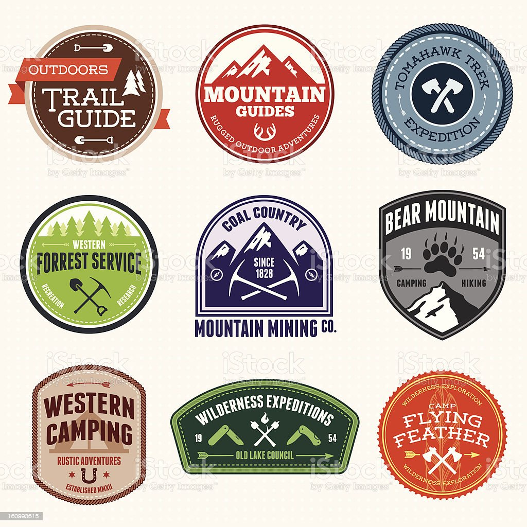 Outdoors Badges stock photo