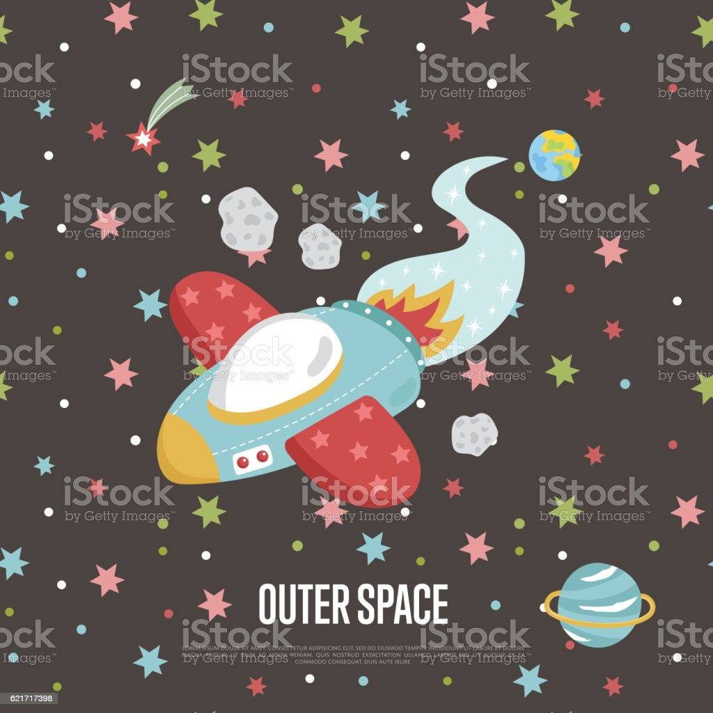 Outer Space Cartoon Vector Web Banner vector art illustration