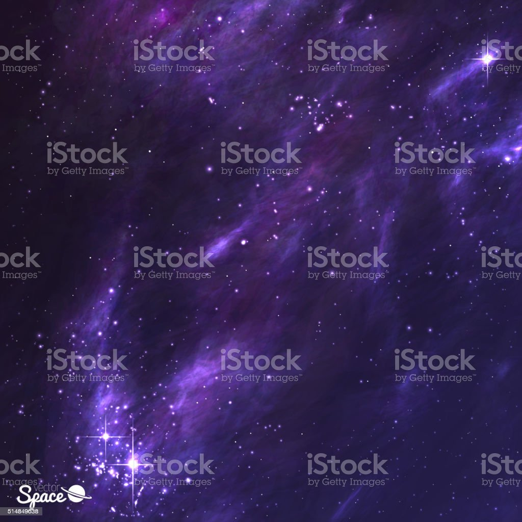 Outer Space illustration with nebula, stardust and shining stars. Vector vector art illustration