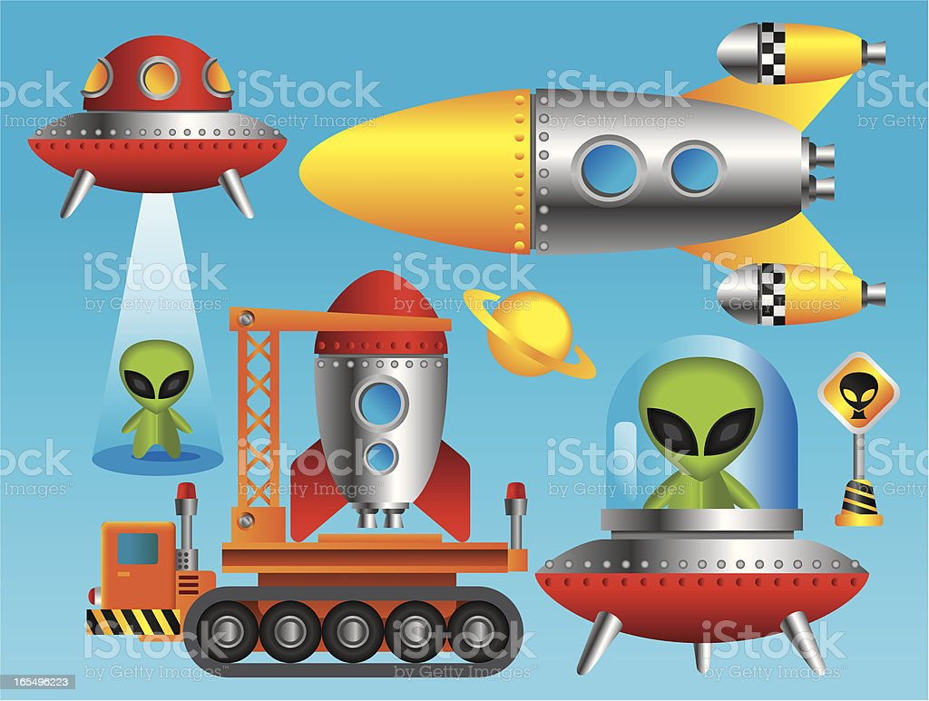 Outer Space related Items vector art illustration