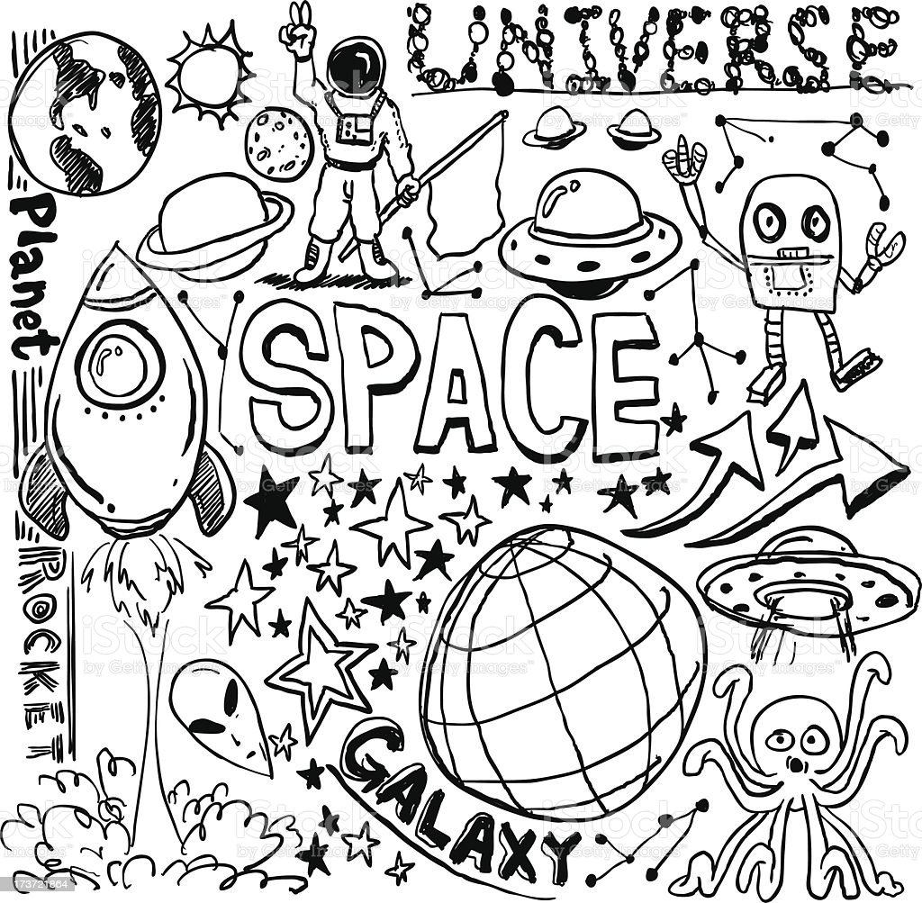 Outerspace elements in sketch collection royalty-free stock vector art