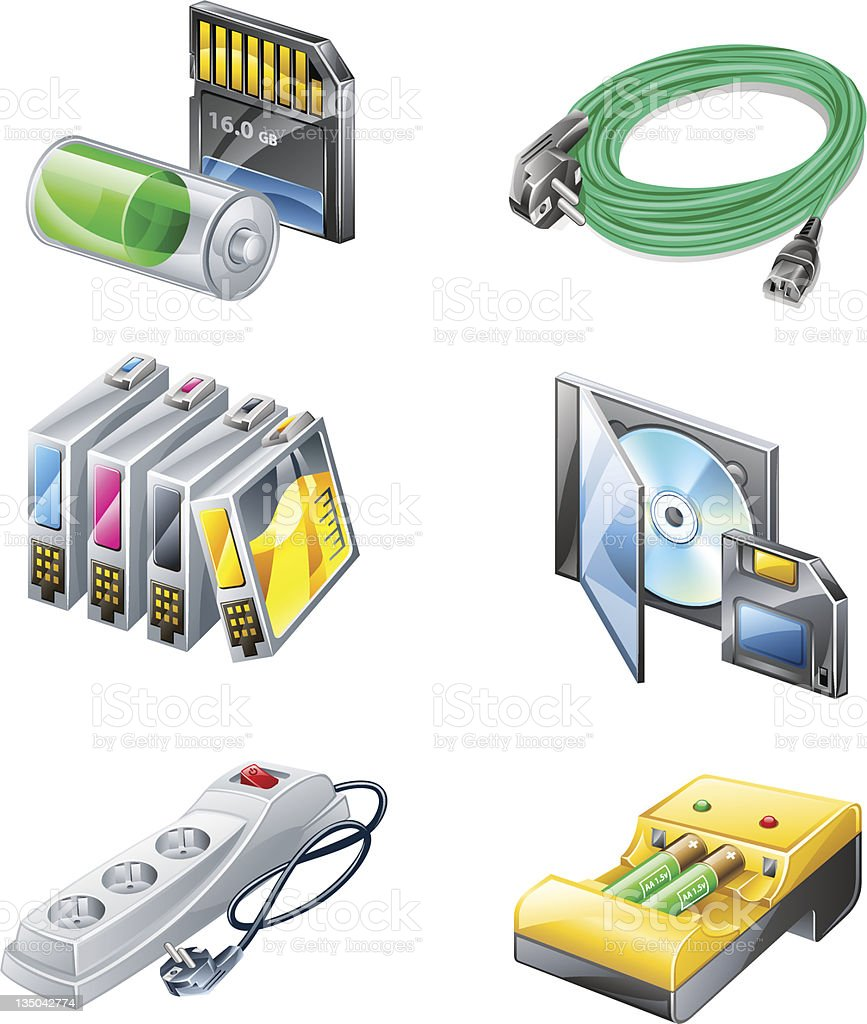 Outlet, flash card, battery charger, wire, CD, diskette, printer cartridge. royalty-free stock vector art
