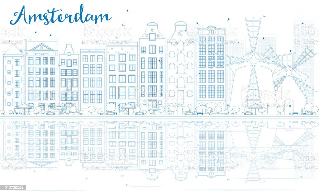 Outline Amsterdam skyline with blue buildings and reflections. vector art illustration