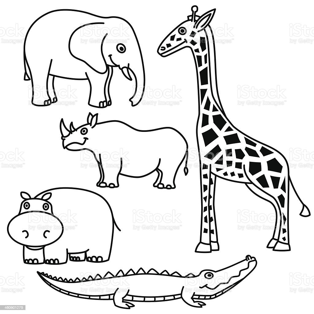 Outline Animals Set royalty-free stock vector art