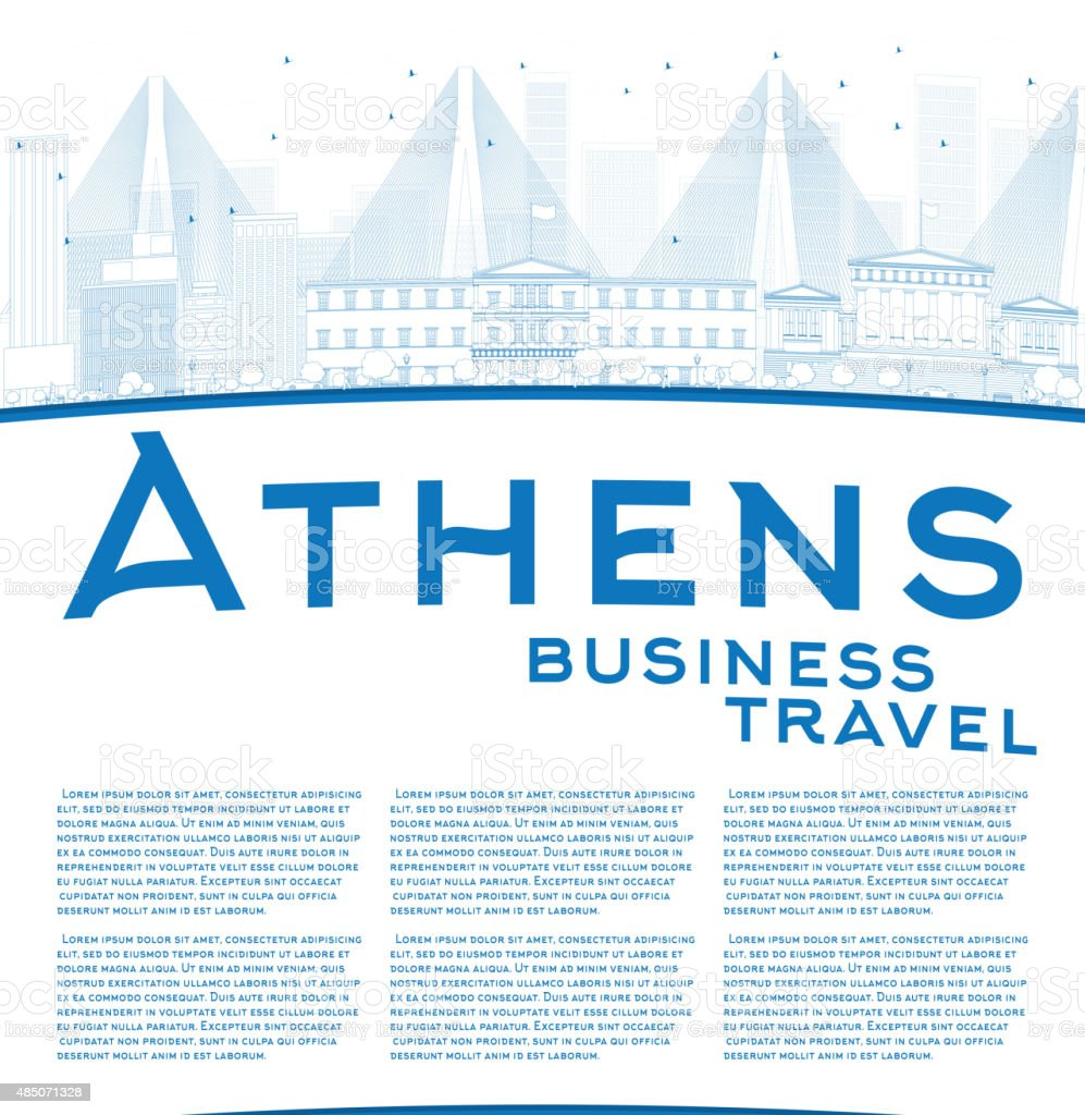 Outline athens skyline with blue buildings and copy space stock vector - Outline Athens Skyline With Blue Buildings And Copy Space Royalty Free Stock Vector Art