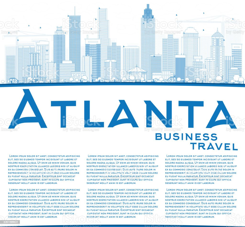 Outline athens skyline with blue buildings and copy space stock vector -  Outline Atlanta Skyline With Blue Buildings And Copy Space Vector Art Illustration