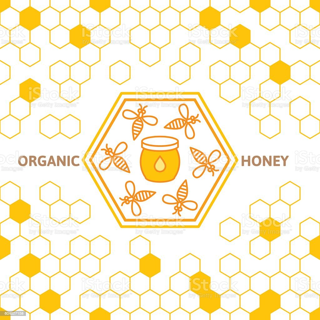 Outline bee vector symbol and seamless background with honeycombs. vector art illustration