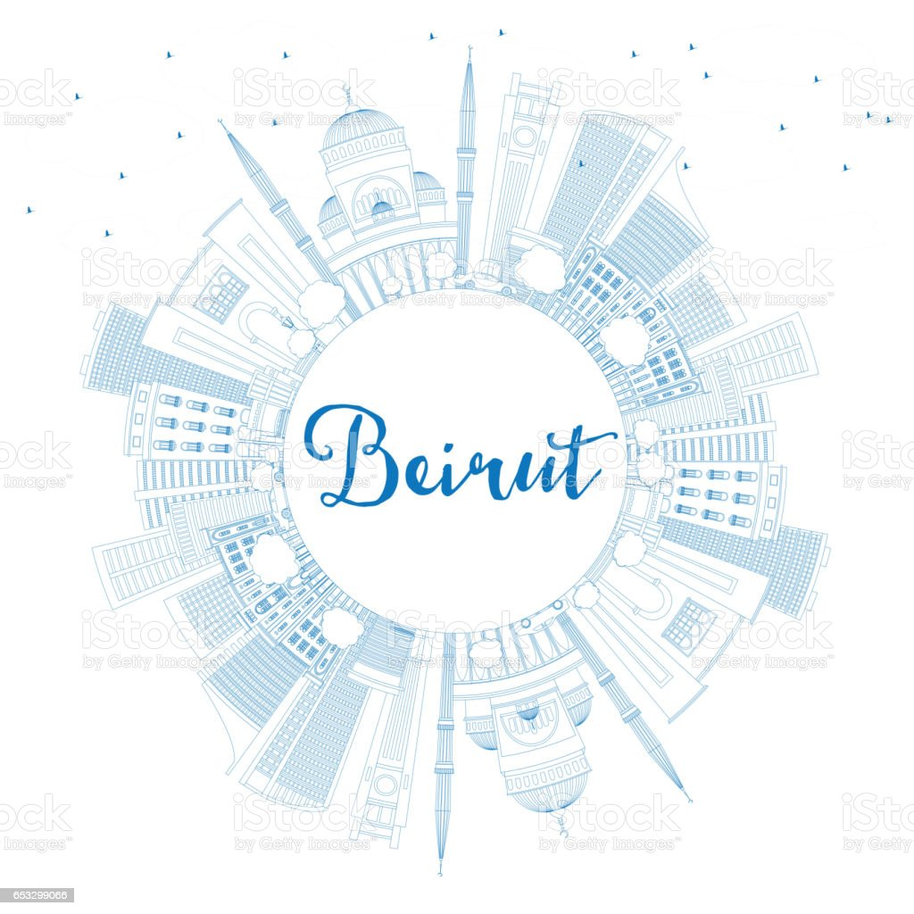 Outline athens skyline with blue buildings and copy space stock vector - Outline Beirut Skyline With Blue Buildings And Copy Space