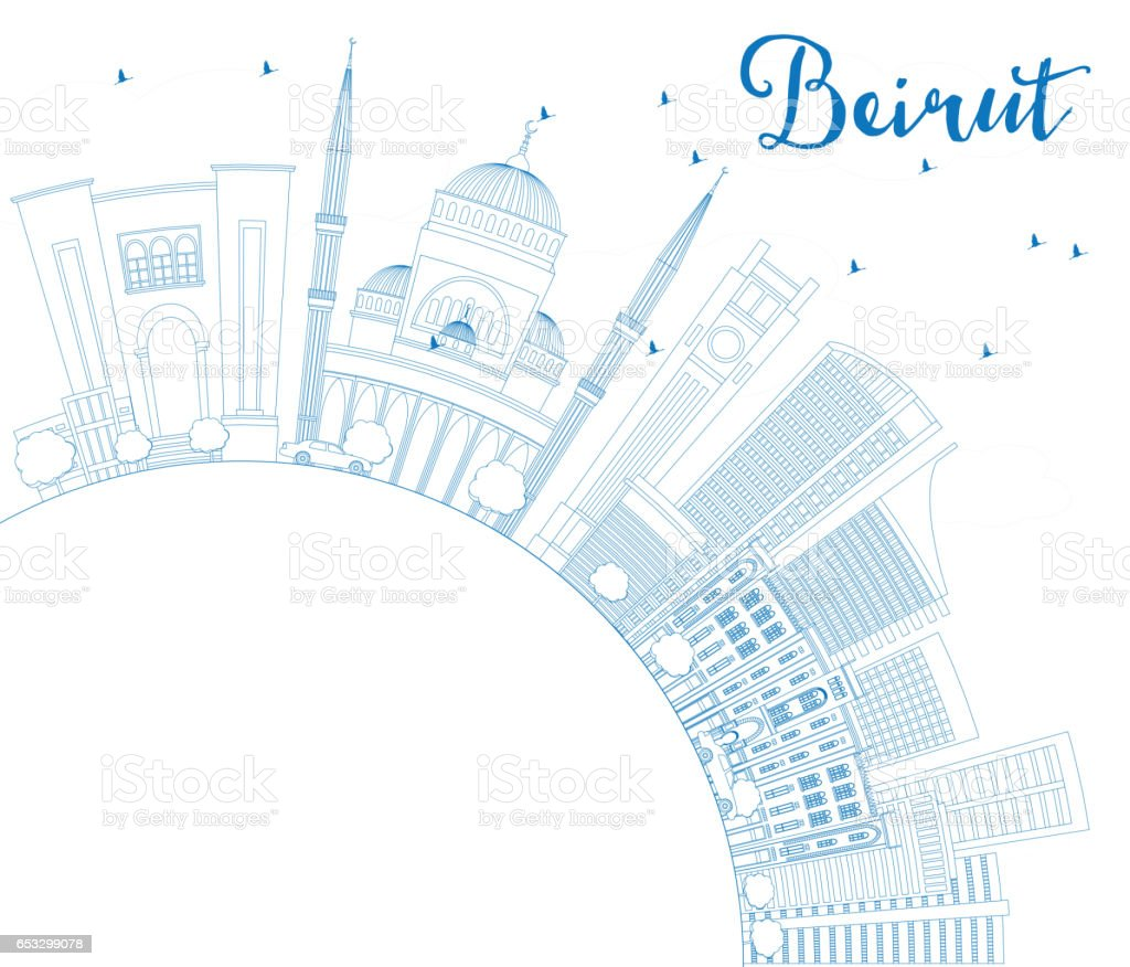 Outline athens skyline with blue buildings and copy space stock vector - Outline Beirut Skyline With Blue Buildings And Copy Space Royalty Free Stock Vector Art