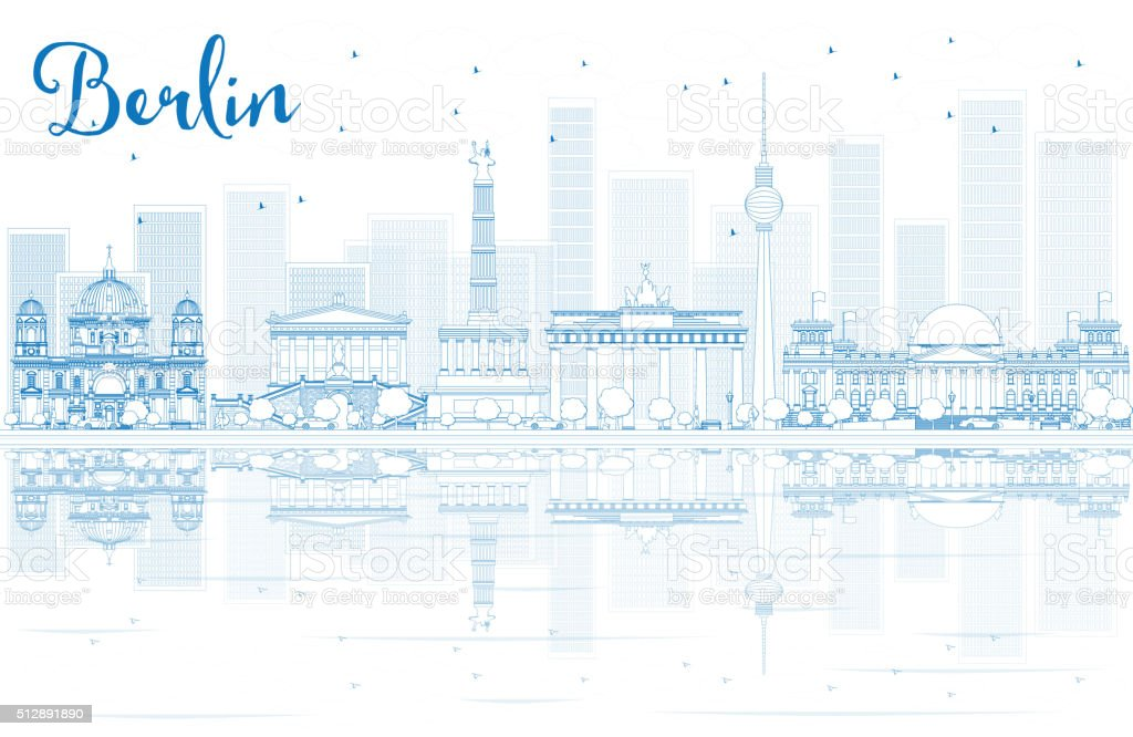 Outline Berlin skyline with blue buildings and reflections. vector art illustration