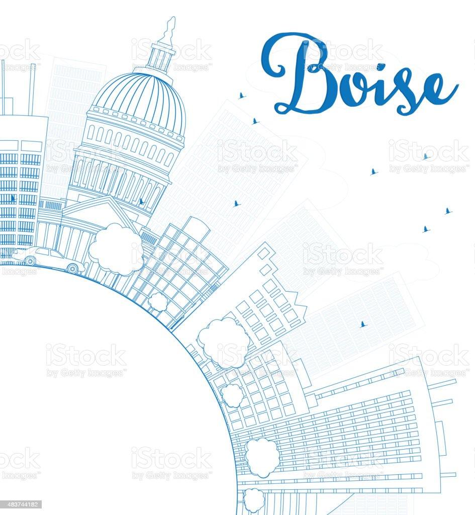 Outline athens skyline with blue buildings and copy space stock vector - Outline Boise Skyline With Blue Building And Copy Space Royalty Free Stock Vector Art