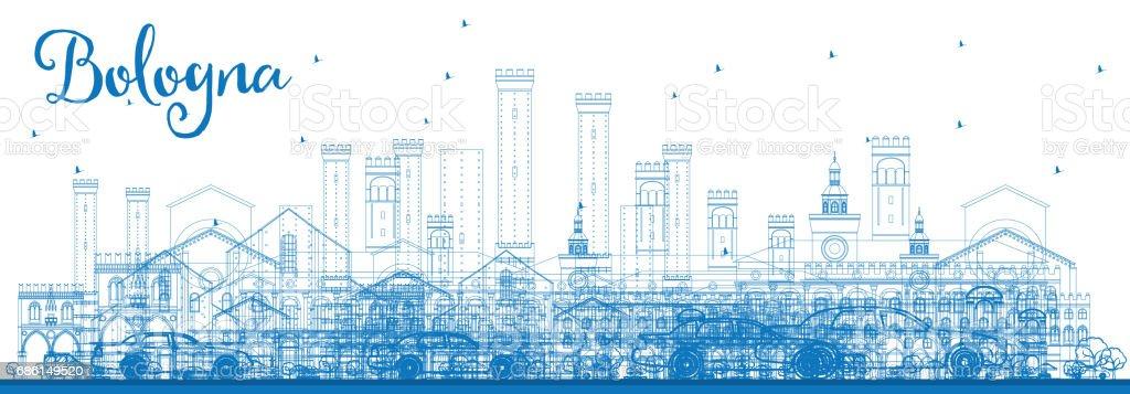 Outline Bologna Skyline with Blue Landmarks. vector art illustration