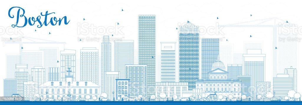 Outline Boston Skyline with Blue Buildings. vector art illustration
