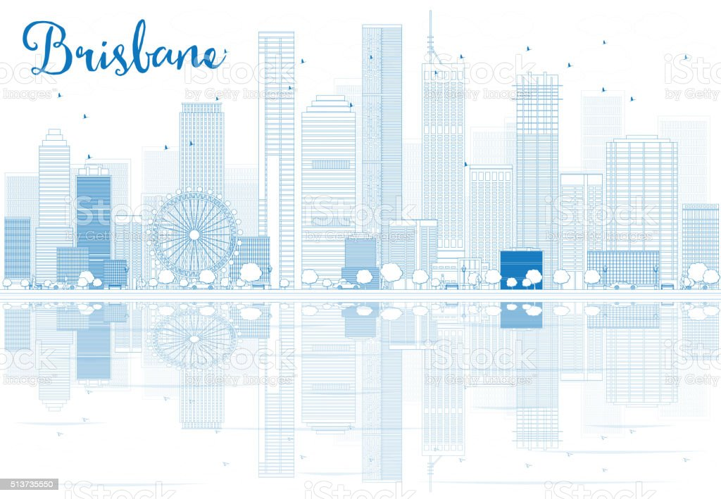 Outline Brisbane skyline with blue buildings and reflections. vector art illustration
