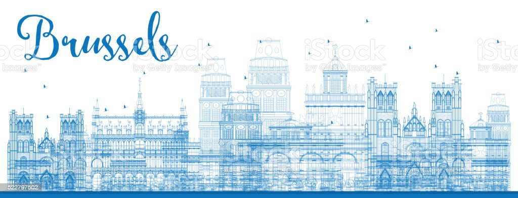 Outline Brussels skyline with Blue buildings. vector art illustration
