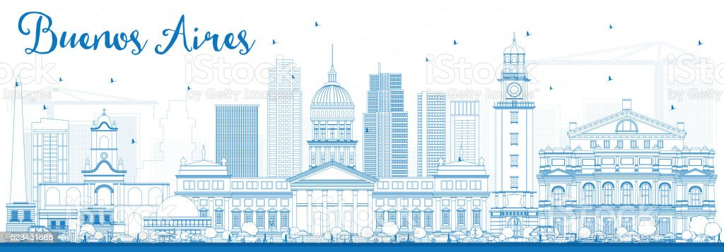 Outline Buenos Aires Skyline with Blue Landmarks. vector art illustration
