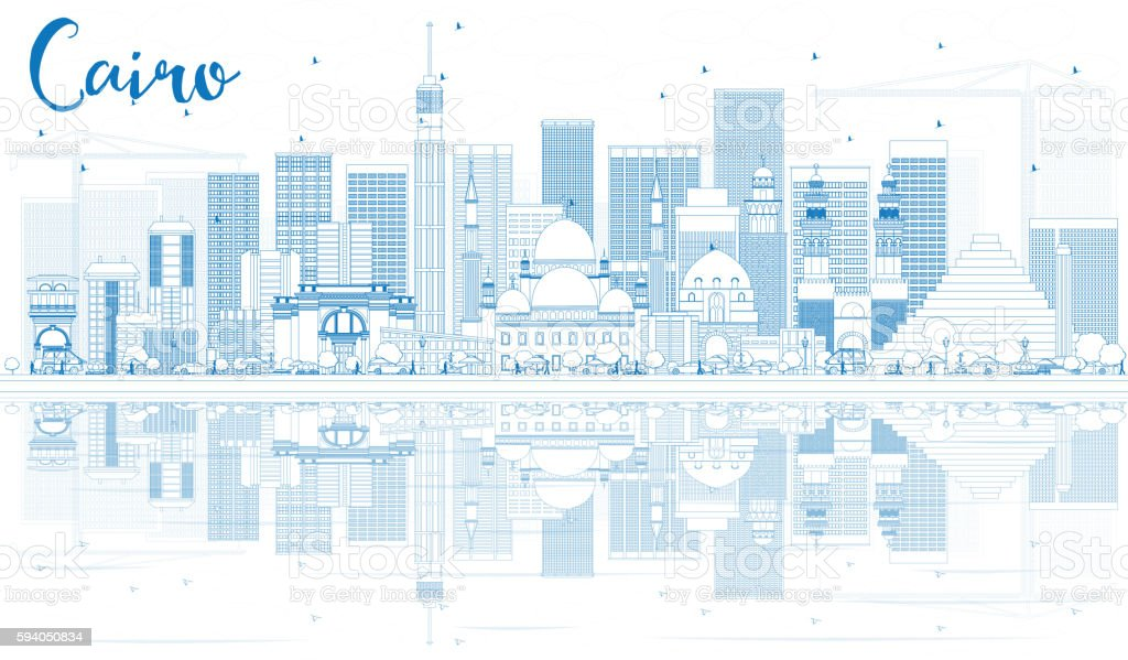 Outline Cairo Skyline with Blue Buildings and Reflections. vector art illustration