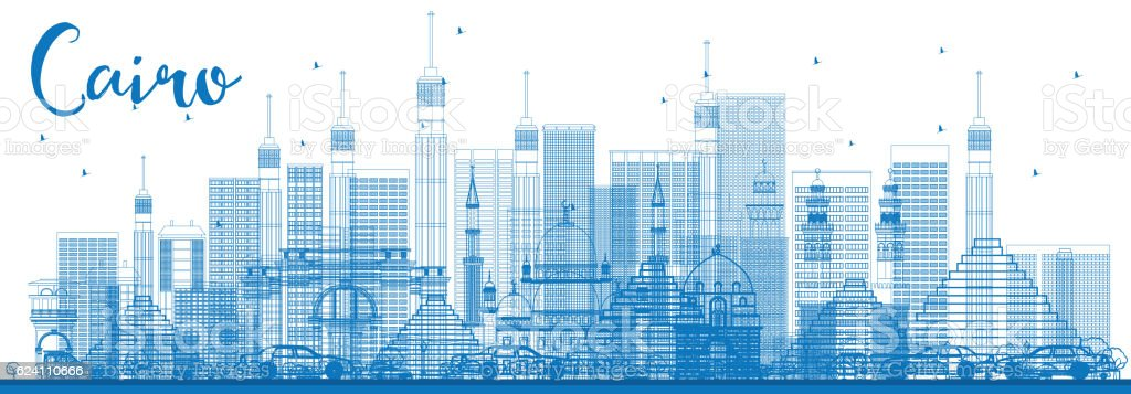 Outline Cairo Skyline with Blue Buildings. vector art illustration