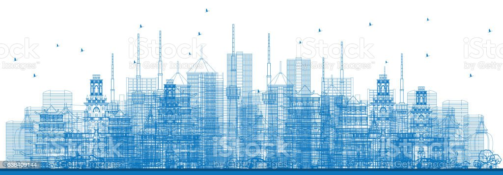 Outline City Skyscrapers and Buildings in Blue Color. vector art illustration