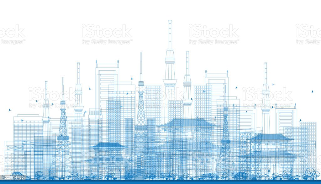 Outline City Skyscrapers and Tv Towers in Blue Color. vector art illustration