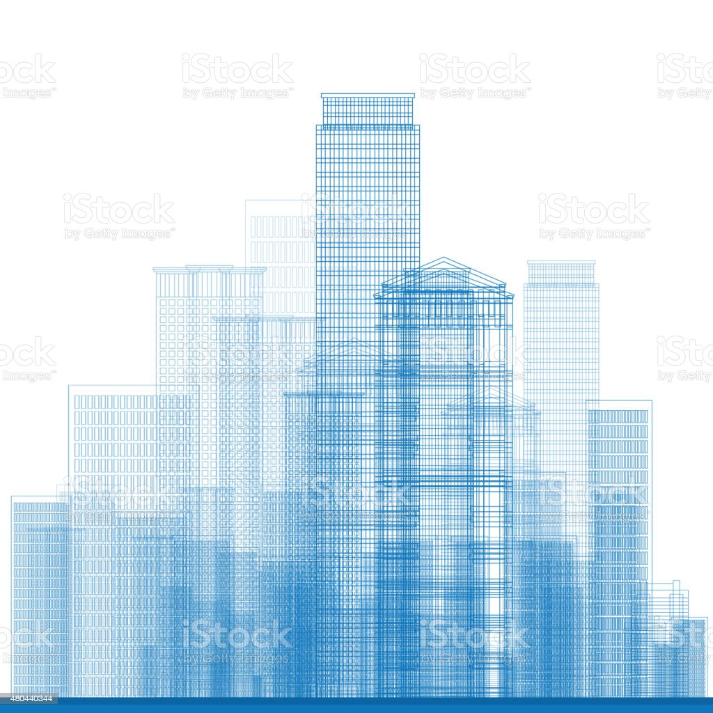 Outline City Skyscrapers in blue color vector art illustration