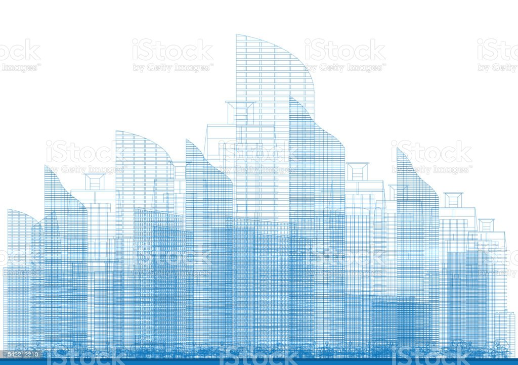 Outline City Skyscrapers in Blue Color. vector art illustration