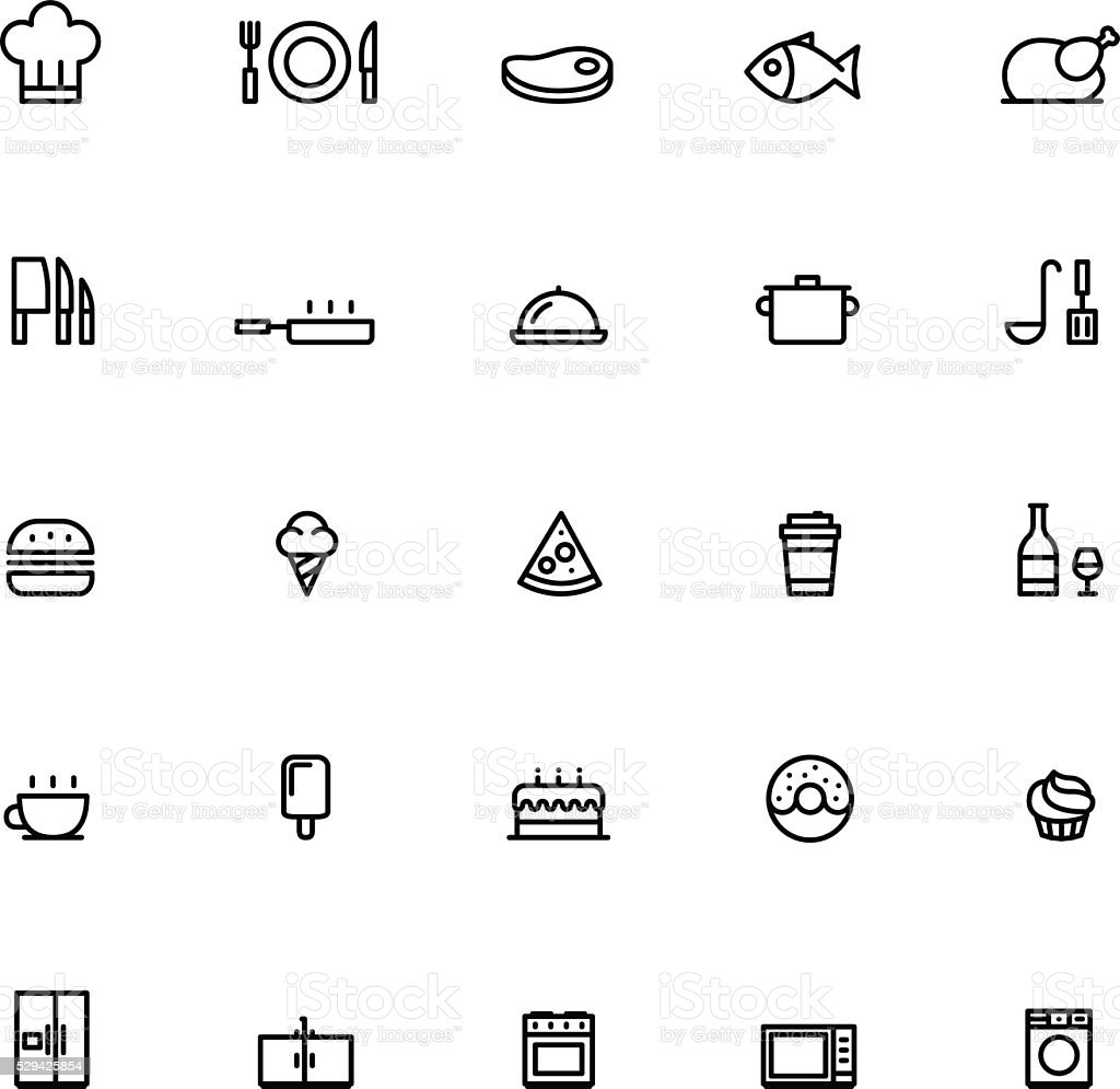 25 Outline Cooking Icons vector art illustration