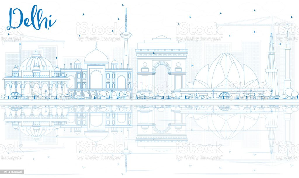 Outline Delhi Skyline with Blue Buildings and Reflections. vector art illustration