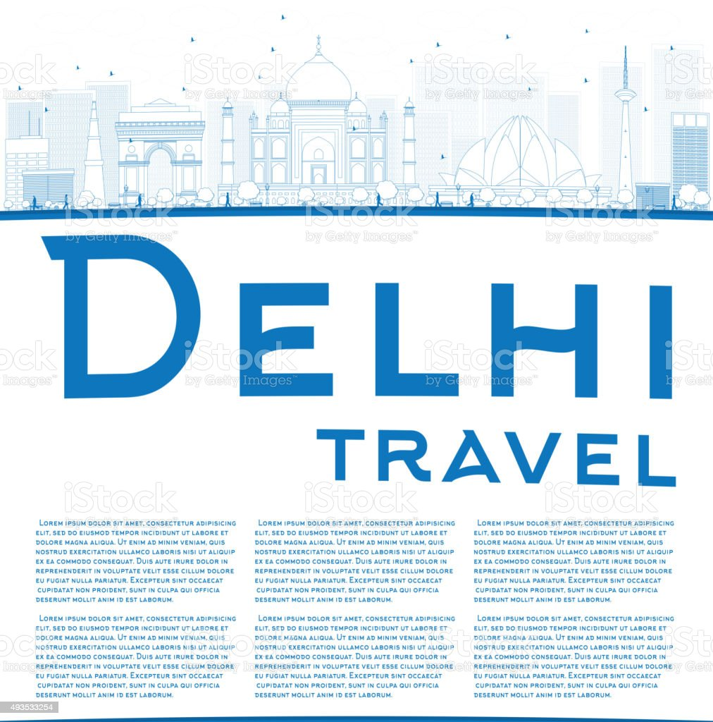 Outline Delhi skyline with blue landmarks and copy space vector art illustration