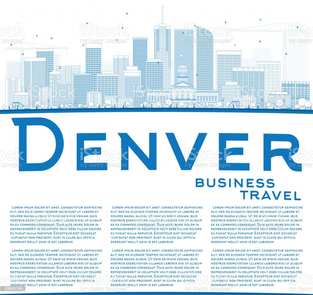 Outline Denver Skyline with Blue Buildings and Copy Space. vector art illustration