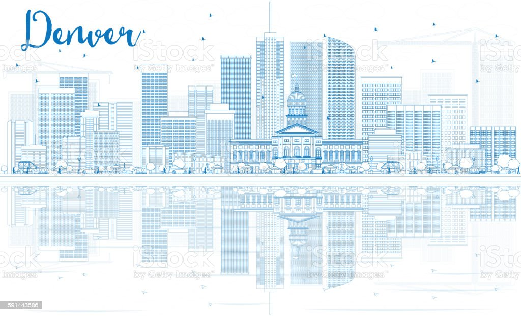 Outline Denver Skyline with Blue Buildings and Reflections. vector art illustration
