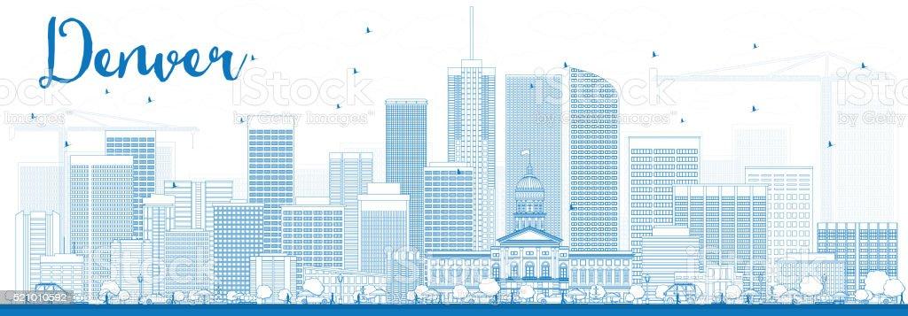 Outline Denver Skyline with Blue Buildings. vector art illustration