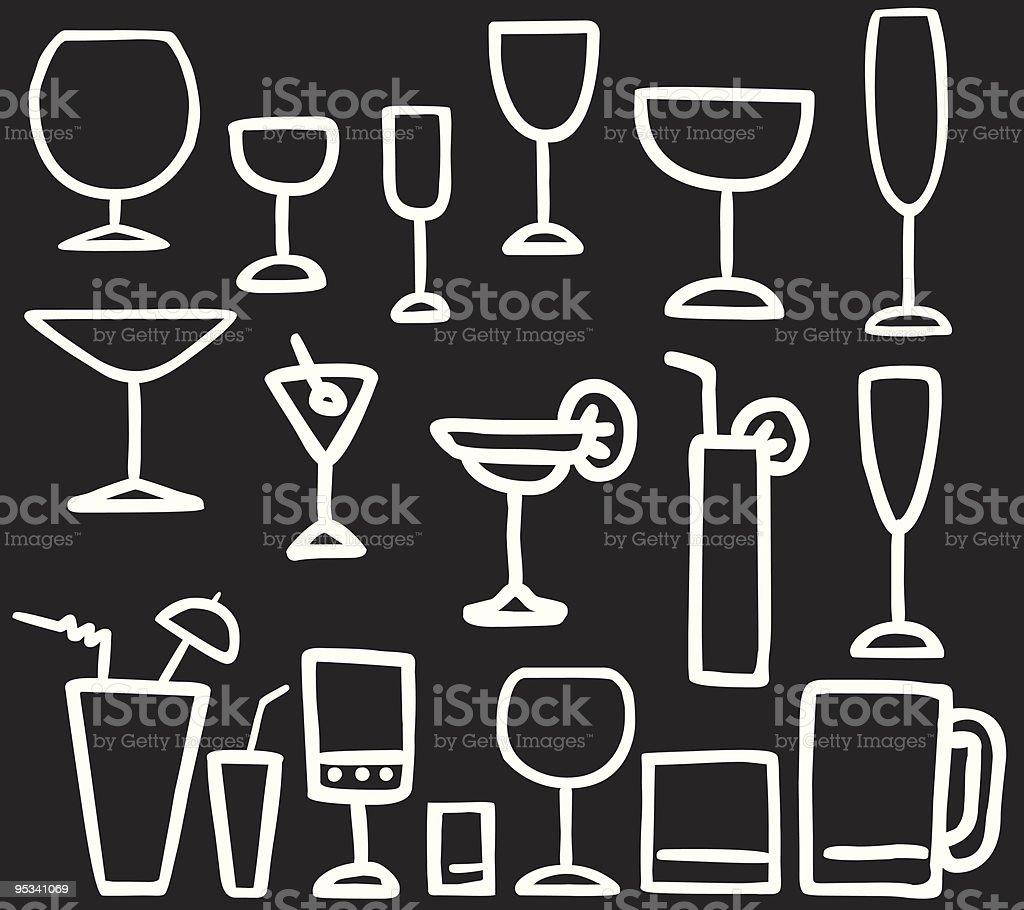 outline drink alcohol cocktail glasses illustration vector art illustration